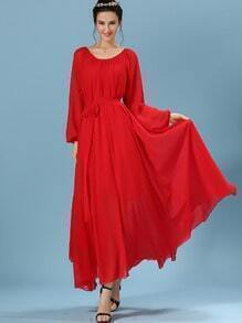 Red Long Sleeve Self-Tie Chiffon Pleated Dress