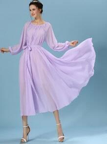Purple Long Sleeve Self-Tie Chiffon Pleated Dress
