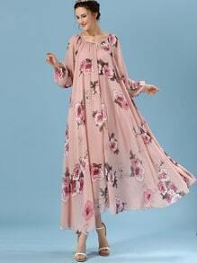 Pink Puff Sleeve Self-Tie Florals Chiffon Dress