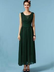 Dark Green Sleeveless Chiffon Maxi Dress