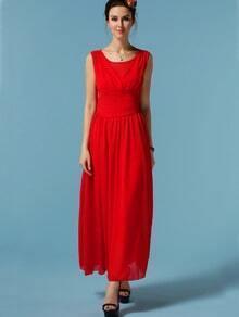 Red Sleeveless Chiffon Maxi Dress