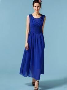 Royal Blue Sleeveless Chiffon Maxi Dress