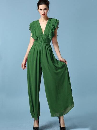 Green Deep V Neck Ruffle Chiffon Jumpsuit