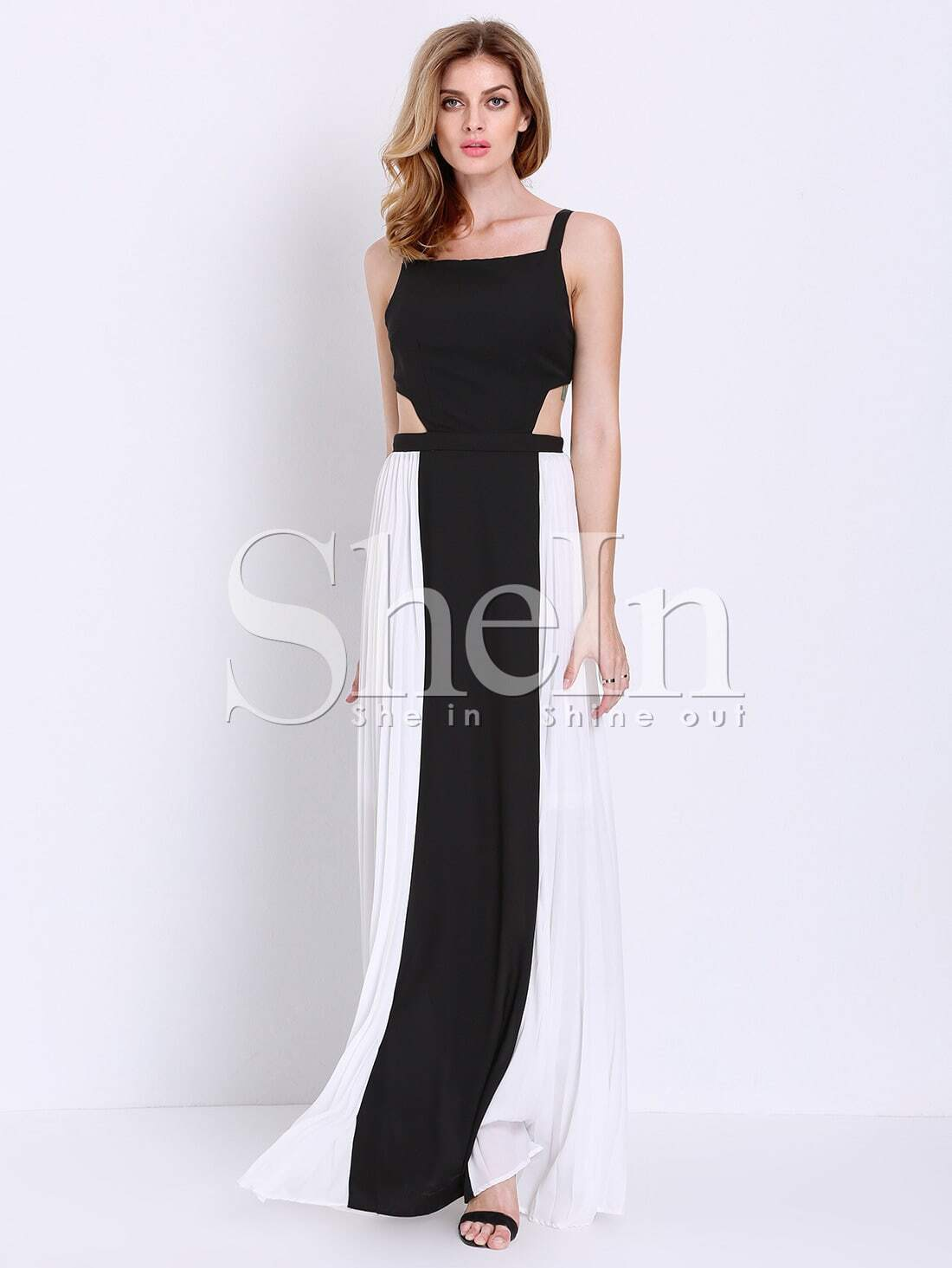 Black White Spaghetti Strap Backless Yule Color Block Maxi Dress ...