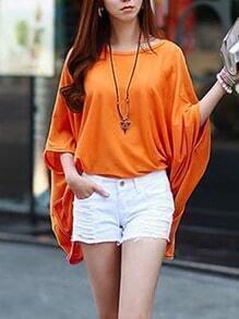 Orange Bat Sleeve Loose Top