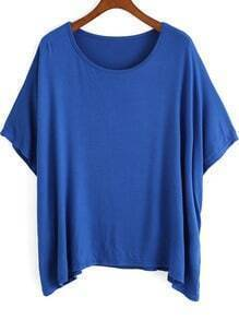 Blue Bat Sleeve Loose Top