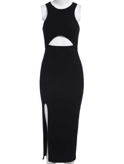 Black Cutout High-Slit Fishtail Dress