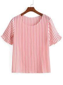Red Butterfly Sleeve Vertical Striped T-Shirt