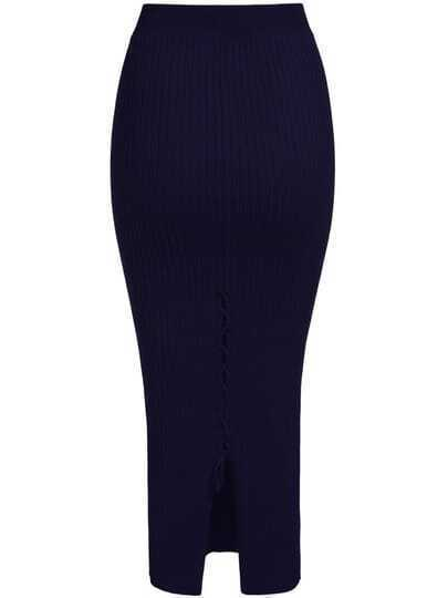 Navy Back Split Bandage Knit Skirt