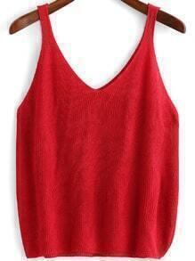 Red V Neck Knit Tank Top