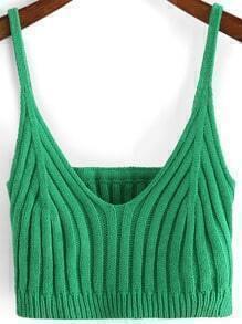 Green Spaghetti Strap Crop Cami Top