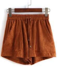 Khaki Drawstring With Pockets Shorts