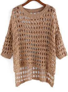 Khaki Dip Hem Hollow Sweater