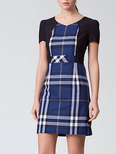 Navy Black Short Sleeve Check Print Dress