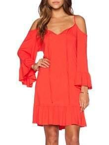 Orange Long Sleeve Off The Shoulder Ruffle Dress