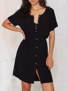 Black Short Sleeve Split Dress