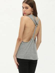 Grey Sleeveless Backless Tank Top