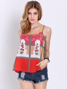 Multicolor Sleeveless Vintage Print Tank Top