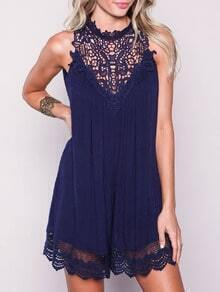 Navy Sleeveless With Lace Playsuit