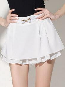 White Casual Skirt Shorts