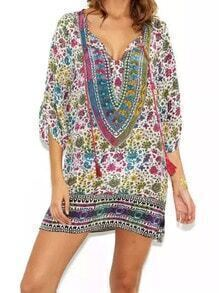 Multicolor Tie-neck Floral Loose Dress