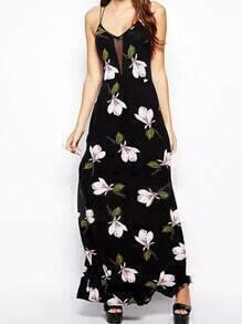Black Spaghetti Strap Butterfly Print Maxi Dress