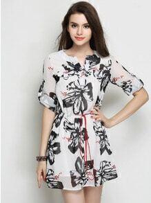 Black White Half Sleeve Floral Chiffon Dress