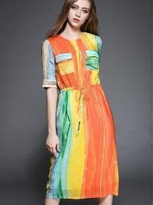 Multicolor Round Neck Vertical Stripe Shirt Dress