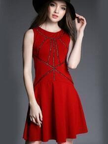 Red Round Neck Sleeveless Slim Cami Dress