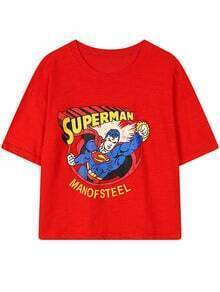 Red Round Neck Superman Print Loose T-Shirt
