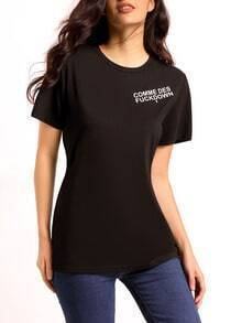Black Round Neck Letters Print Casual T-Shirt