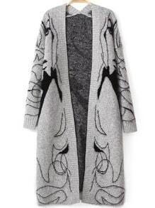 Grey Long Sleeve Beauty Print Knit Cardigan