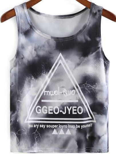 Grey Round Neck Triangle Letters Print Tank Top