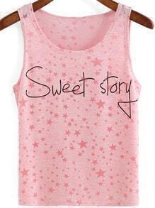 Pink Scoop Neck Stars Letters Print Tank Top