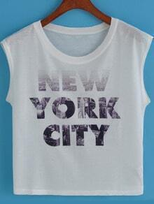 White Round Neck NEW YORK CITY Print Tank Top