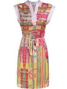 Multicolor V Neck Sleeveless Tribal Print Dress