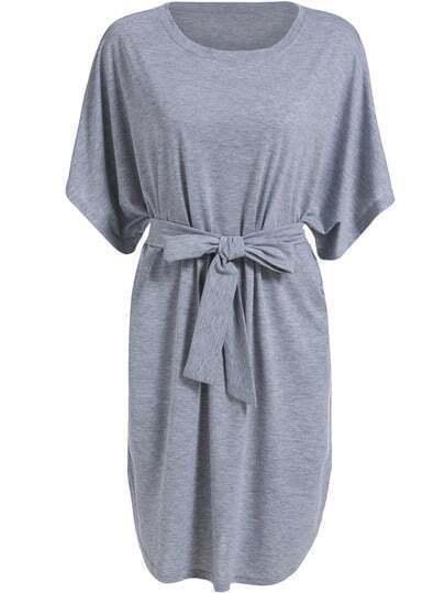 Grey Dolman Round Neck Tie-waist Loose Dress