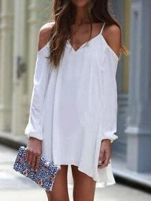 White Off the Shoulder Loose Chiffon Dress