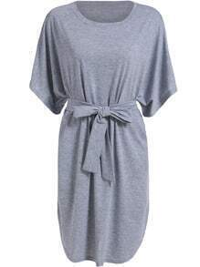Grey Dolman Round Neck Tie-waist Loose Dress