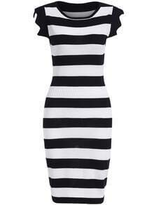 Black White Round Neck Striped Knit Dress