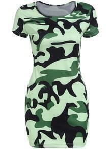 Green Round Neck Camouflage Print Bodycon Dress