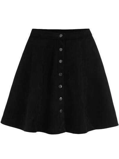 Black Buttons Flare Skirt