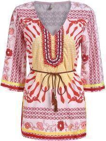 Multicolor V Neck Bead Tribal Print Blouse