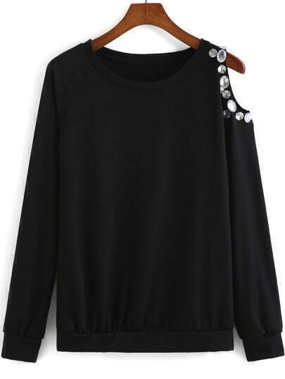 Black Round Neck One-shoulder Rhinestone T-shirt