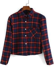 Red Blue Lapel Long Sleeve Plaid Crop Blouse