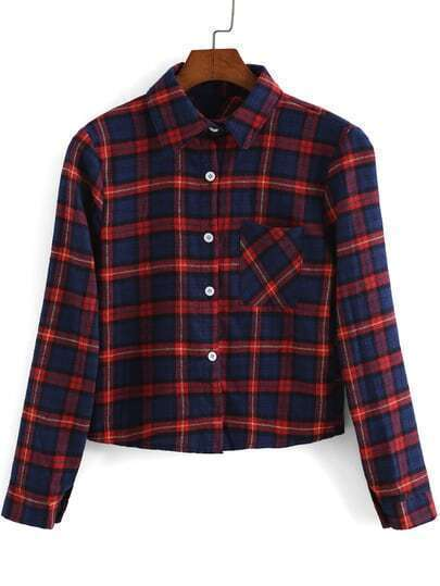 Red Blue Lapel Long Sleeve Windowpane Plaid Crop Blouse