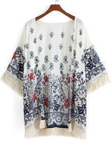 Multicolor Half Sleeve Floral Tassel Kimono