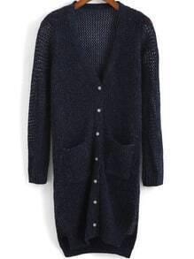 Navy V Neck Long Sleeve Pockets Knit Cardigan