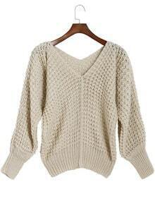 Beige V Neck Long Sleeve Loose Knit Sweater