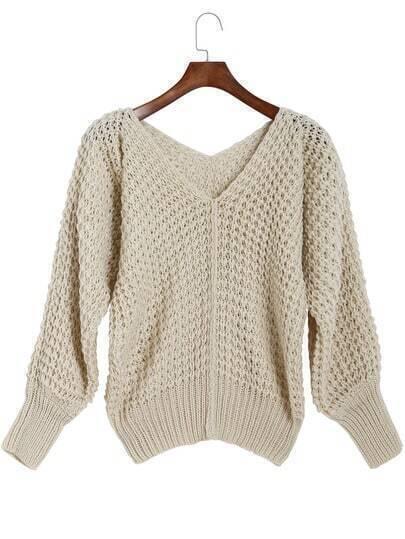 Beige V Neck Long Sleeve Loose Knit Sweater